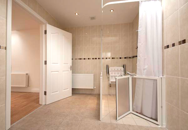 Example of a bedroom that has been converted into a bathroom